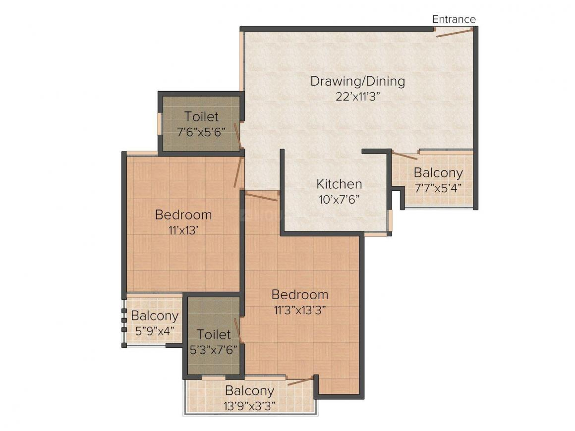 Floor Plan Image of 1200.0 - 1815.0 Sq.ft 3 BHK Apartment for buy in Ansal Town - Meerut