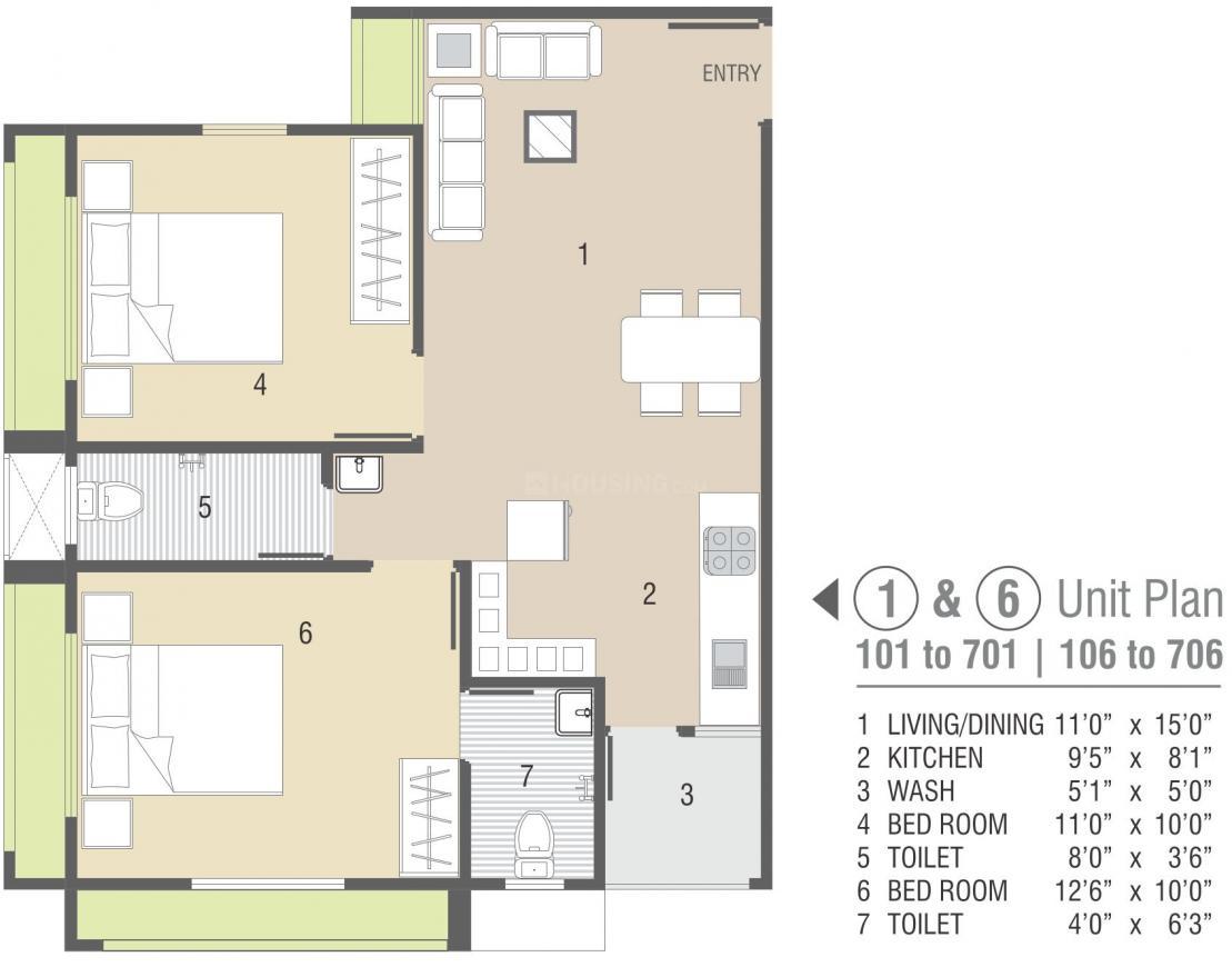Shyam Padmavati Residency Floor Plan: 2 BHK Unit with Built up area of 1135 sq.ft 1