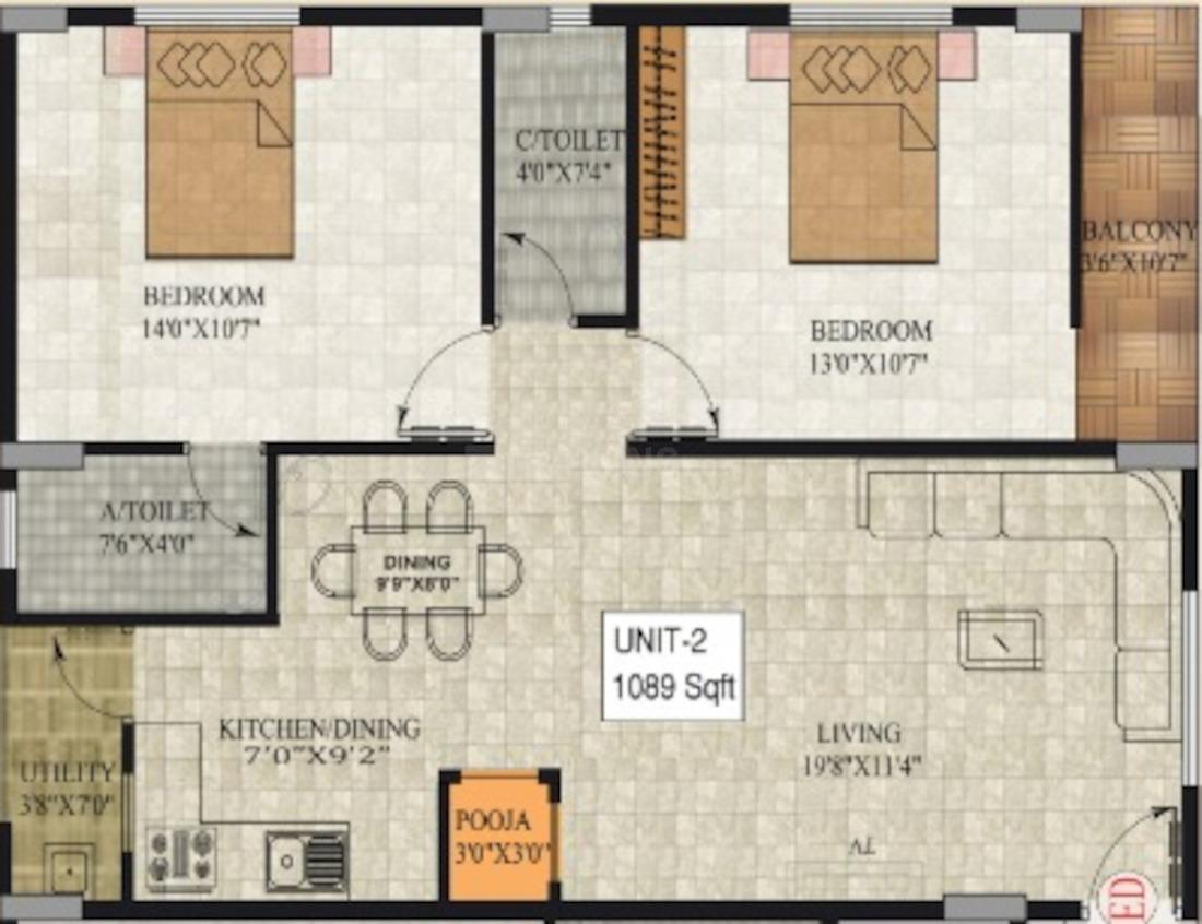 SLV Classic Floor Plan: 2 BHK Unit with Built up area of 1089 sq.ft 1