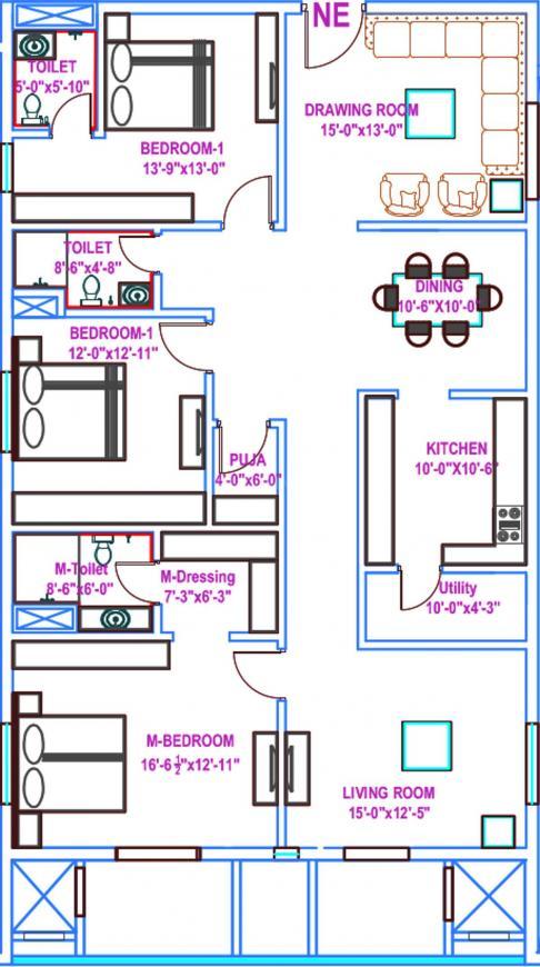 Vasavi Usharam Integra Floor Plan: 3 BHK Unit with Built up area of 2563 sq.ft 1