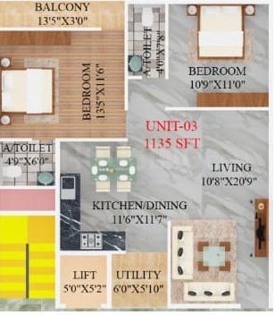 SV Sai Gaurav Floor Plan: 2 BHK Unit with Built up area of 1135 sq.ft 1