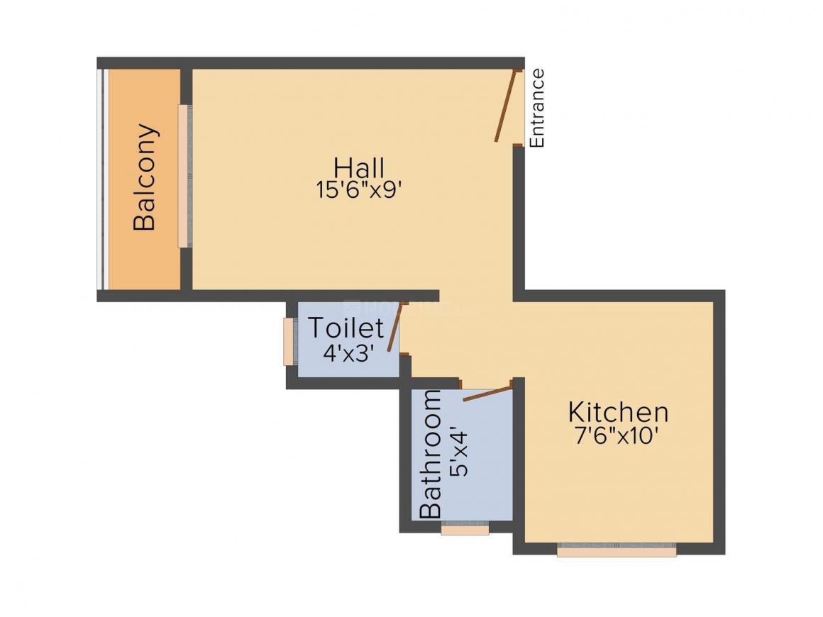 Floor Plan Image of 360.0 - 620.0 Sq.ft 1 RK Apartment for buy in Matoshree Residency