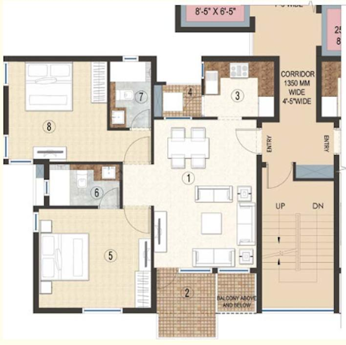 Jaypee Krescent Homes Floor Plan: 2 BHK Unit with Built up area of 1115 sq.ft 1
