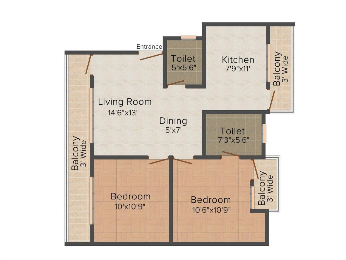 Ansal Town Indore - Apartments Floor Plan: 2 BHK Unit with Built up area of 980 sq.ft 1