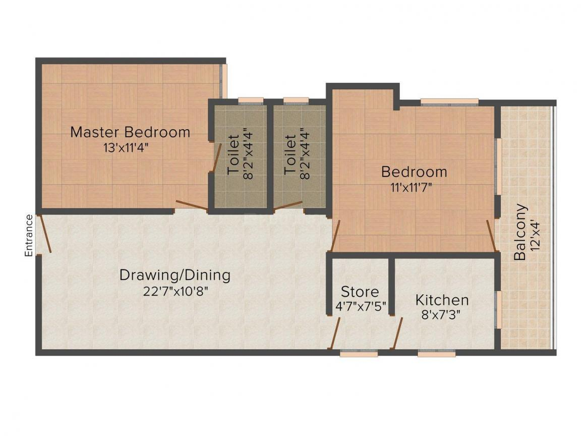 Majestic Developers Pune Majestic Janki City Floor Plan: 2 BHK Unit with Built up area of 1135 sq.ft 1