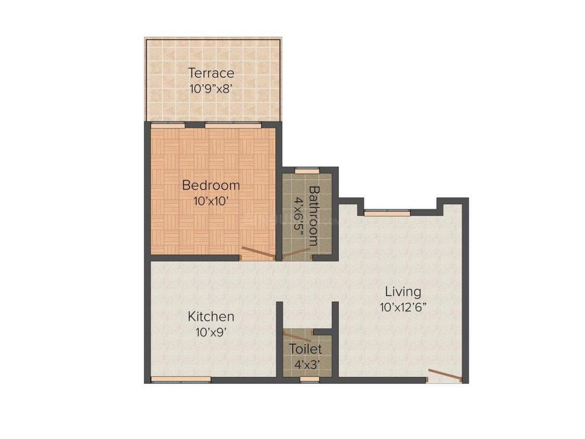 Sahil Developers Sahil Anand Floor Plan: 1 BHK Unit with Built up area of 601 sq.ft 1