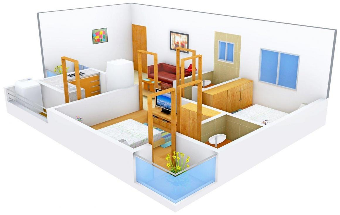 Floor Plan Image of 1050.0 - 1550.0 Sq.ft 2 BHK Apartment for buy in SP Shree Siddheshwar Krishna