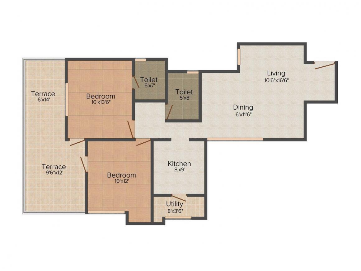 Golok Vrindavan Floor Plan: 2 BHK Unit with Built up area of 967 sq.ft 1