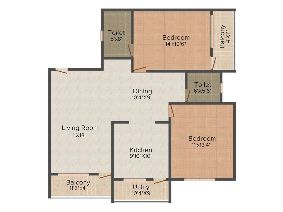 Floor Plan Image of 1014.0 - 1353.0 Sq.ft 2 BHK Apartment for buy in INLAND EON