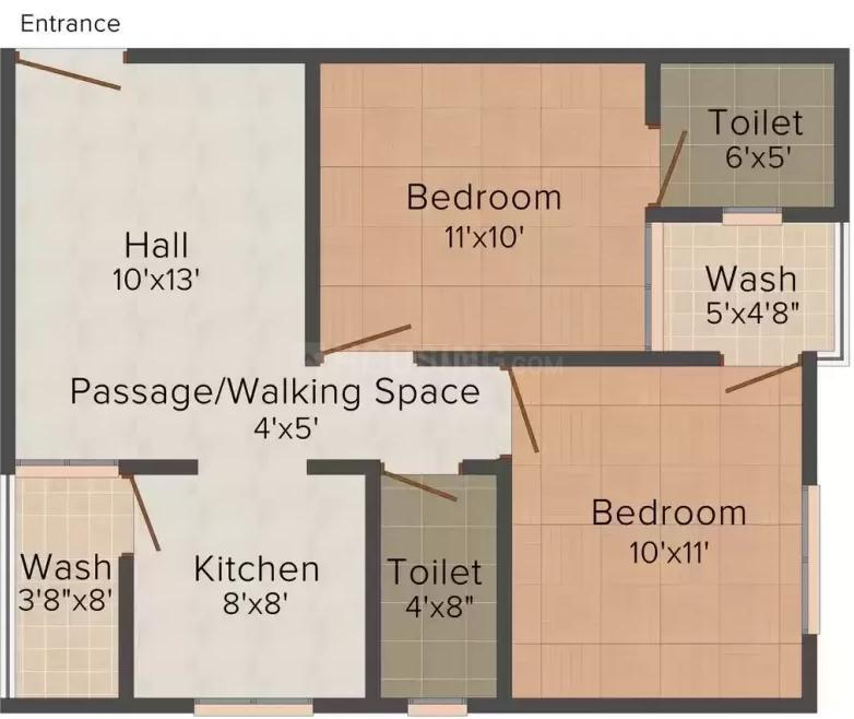 Floor Plan Image of 0 - 850.0 Sq.ft 2 BHK Apartment for buy in S K Shekhar Enclave