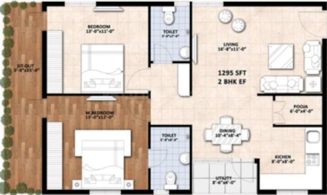 Navya Uvera Heights Floor Plan: 2 BHK Unit with Built up area of 1295 sq.ft 1