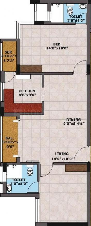 Sri Imperial Towers Floor Plan: 2 BHK Unit with Built up area of 985 sq.ft 1