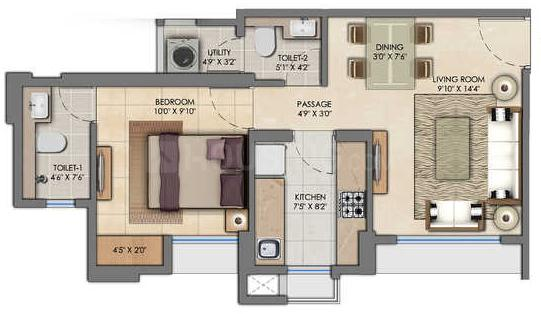 Lodha Amara Tower 32 33 Floor Plan: 1 BHK Unit with Built up area of 366 sq.ft 1