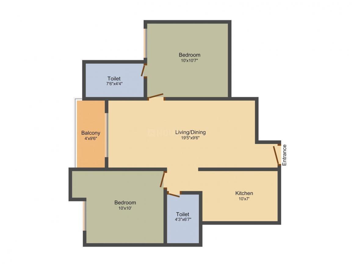 Krishna Krishna Tower Ayapakkam Floor Plan: 2 BHK Unit with Built up area of 857 sq.ft 1