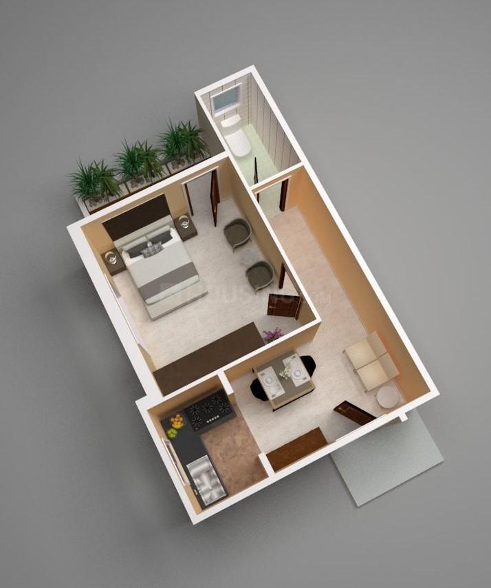 Creative Sonartari Floor Plan: 1 BHK Unit with Built up area of 582 sq.ft 1