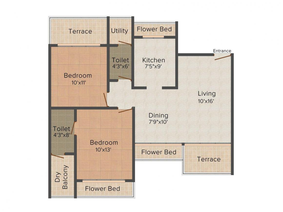 Floor Plan Image of 1350 - 4000 Sq.ft 2 BHK Apartment for buy in Bhagwati Greens