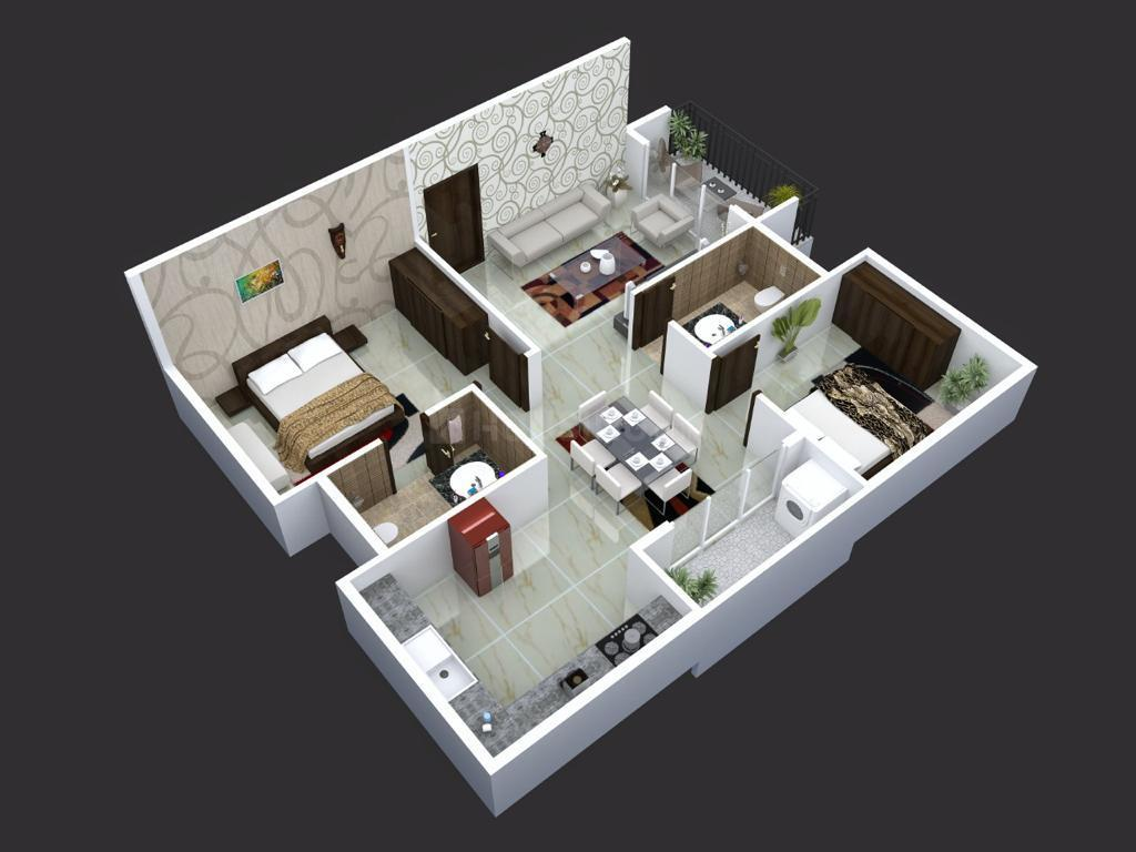Green Anees Enclave Floor Plan: 2 BHK Unit with Built up area of 1080 sq.ft 1