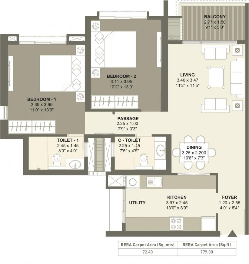 Raheja Reserve Floor Plan: 2 BHK Unit with Built up area of 779 sq.ft 1