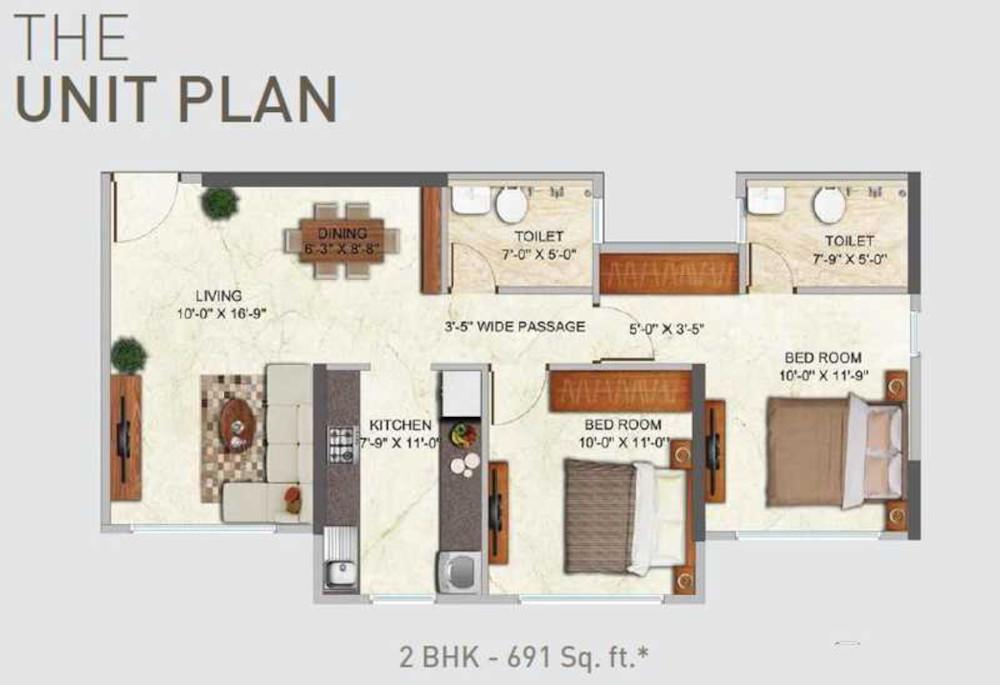 Dhaval Sunrise Charkop Wing C Floor Plan: 2 BHK Unit with Built up area of 691 sq.ft 2