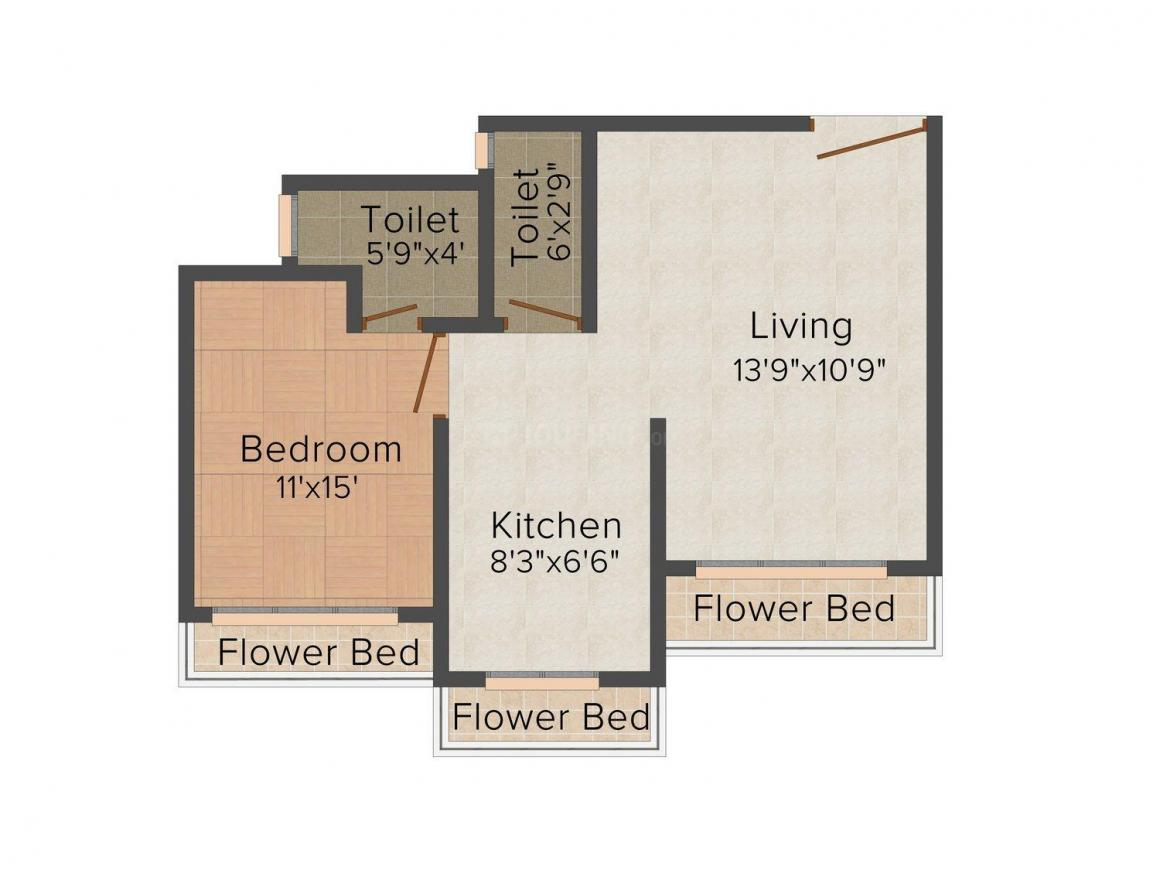 Floor Plan Image of 393.0 - 518.0 Sq.ft 1 BHK Apartment for buy in Sumit Greendale