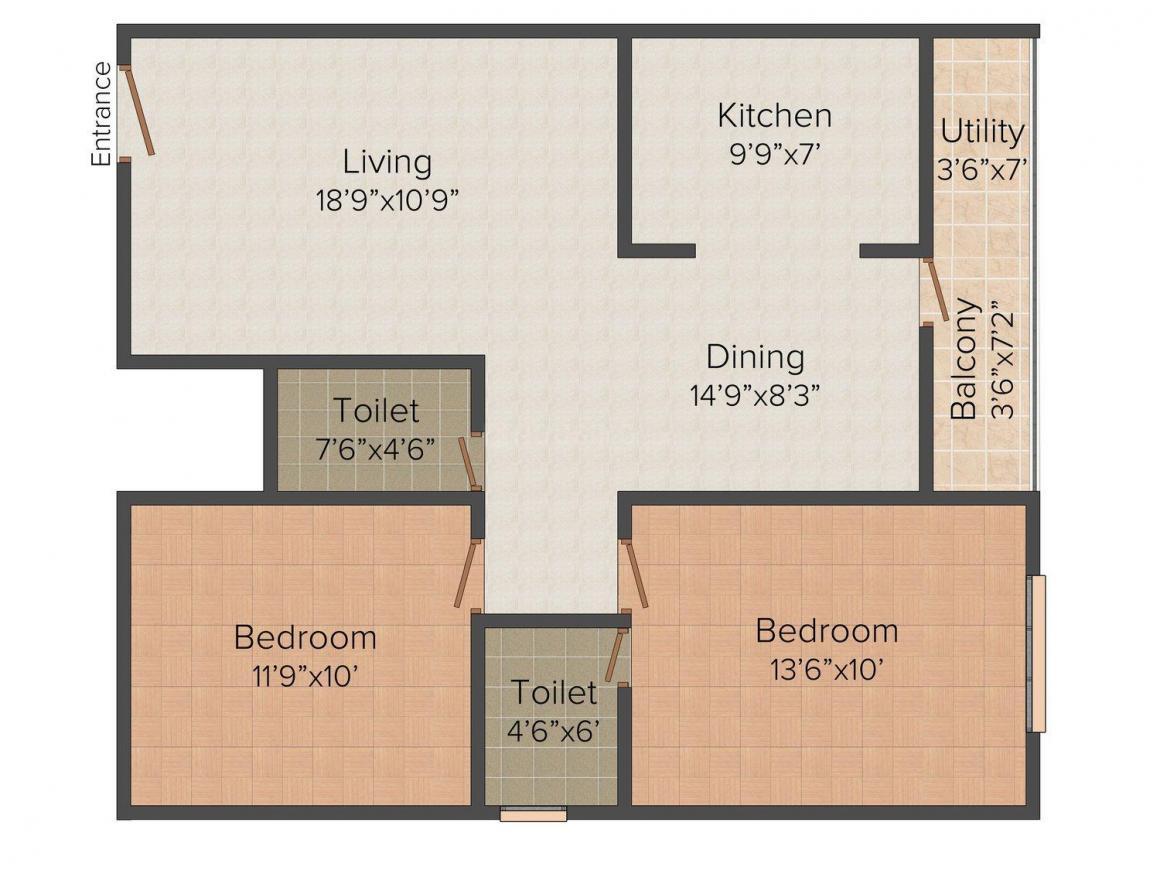 Floor Plan Image of 1000 - 1445 Sq.ft 2 BHK Apartment for buy in Sri Sai Royal Residency