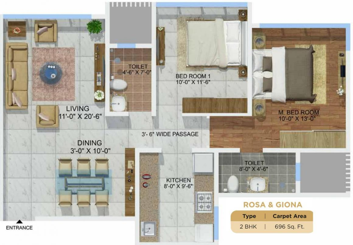 Sheth Montana Floor Plan: 2 BHK Unit with Built up area of 696 sq.ft 1