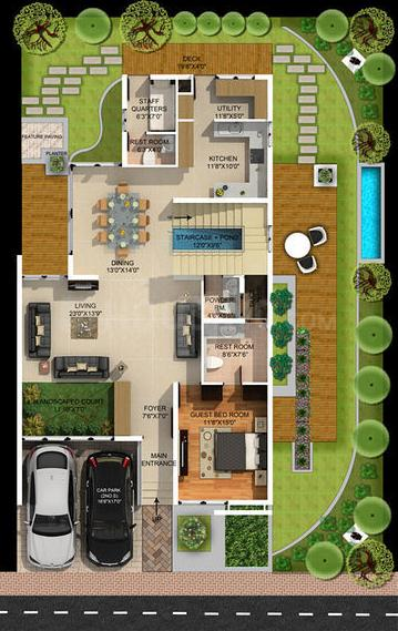 Mantri Developers Signature Villas Floor Plan: 3 BHK Unit with Built up area of 3715 sq.ft 1