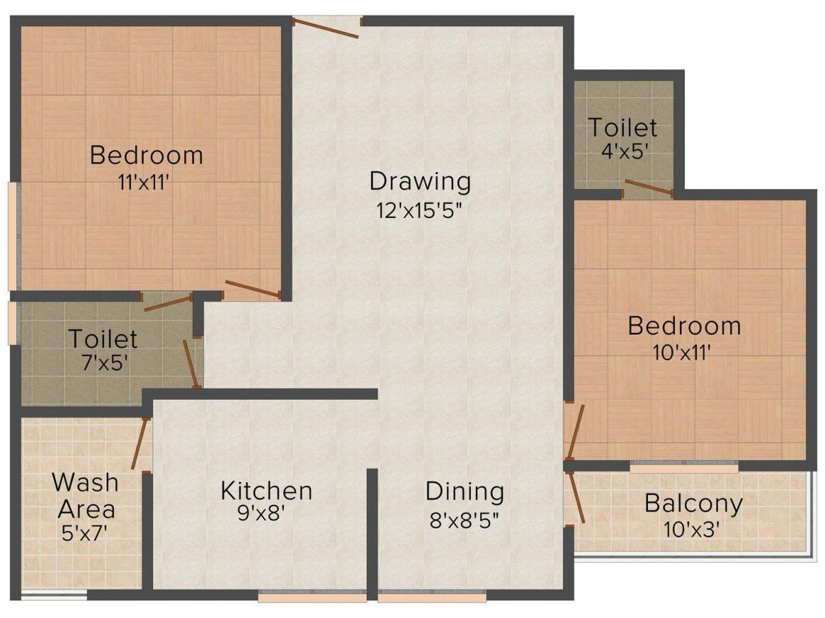 Floor Plan Image of 695 - 1210 Sq.ft 1 BHK Apartment for buy in Classic Pearl