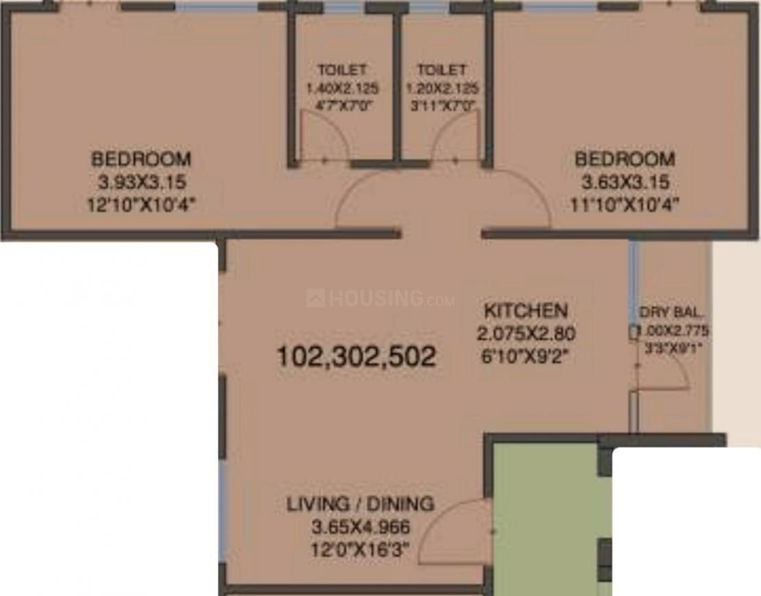 Saga Apartment Floor Plan: 2 BHK Unit with Built up area of 813 sq.ft 2