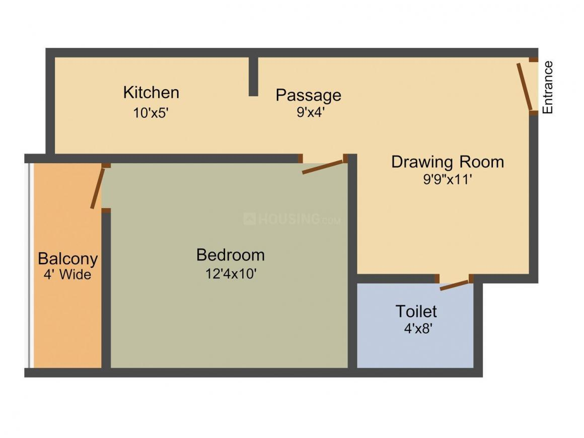 Floor Plan Image of 0 - 470.0 Sq.ft 1 BHK Apartment for buy in AKH Amber Heights
