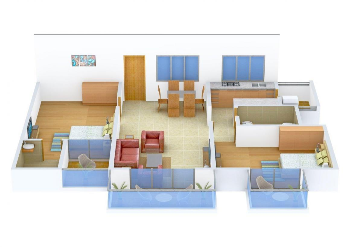 Floor Plan Image of 0 - 1480 Sq.ft 2 BHK Apartment for buy in Wama Ibbanee