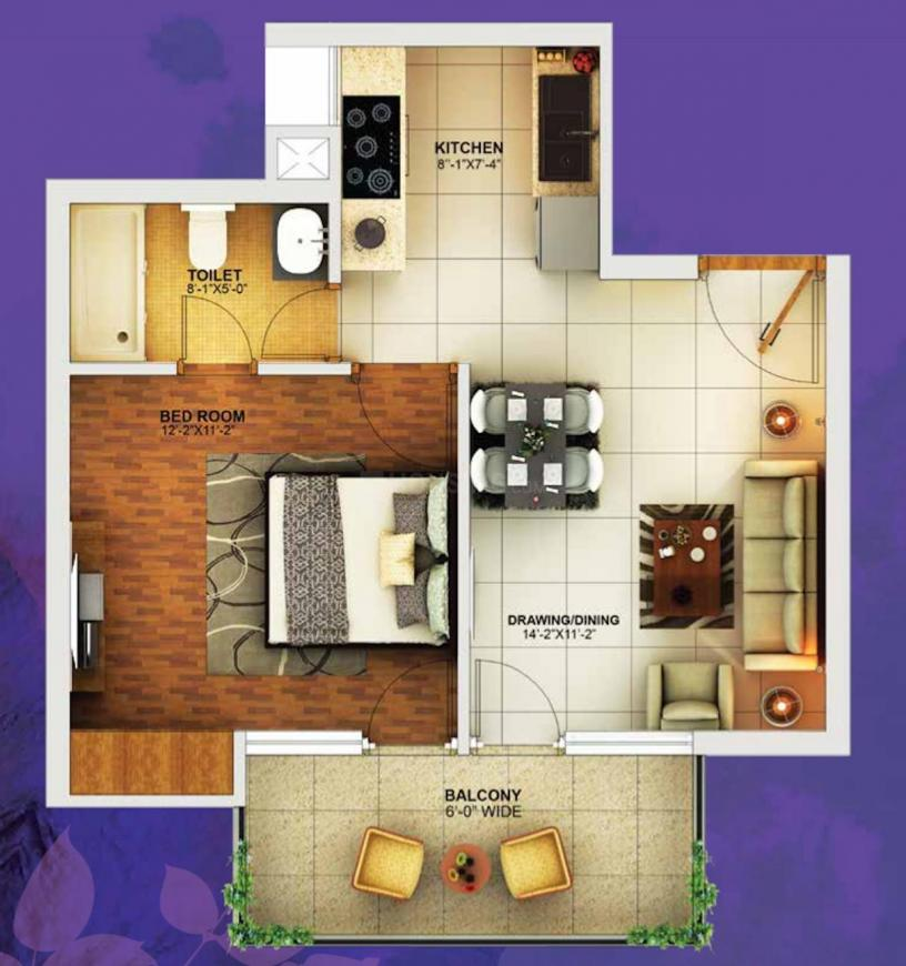 Golden Arcadia Greens Floor Plan: 1 BHK Unit with Built up area of 784 sq.ft 1