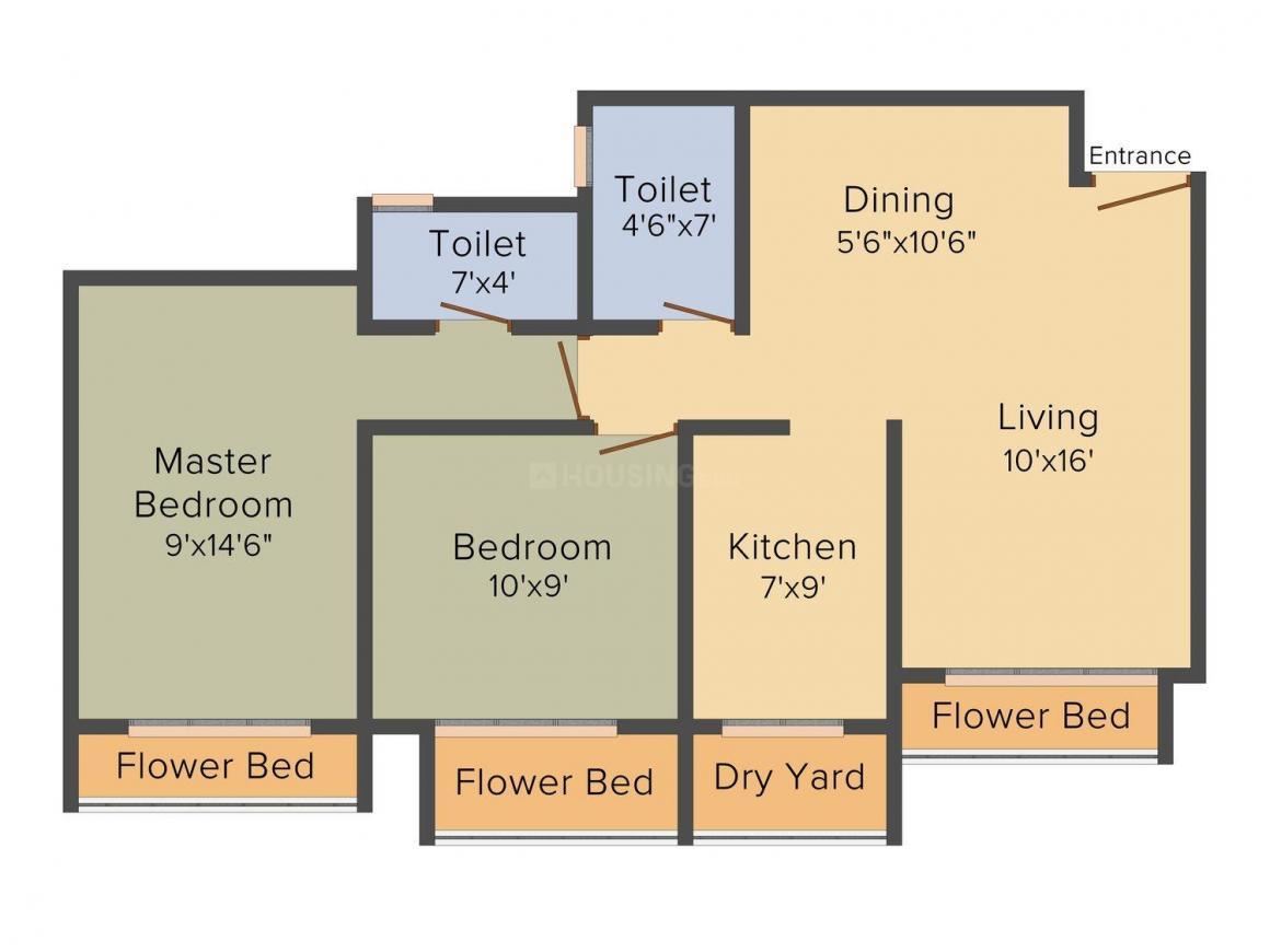 Floor Plan Image of 1075.0 - 1100.0 Sq.ft 2 BHK Apartment for buy in Shree Khushi Residency