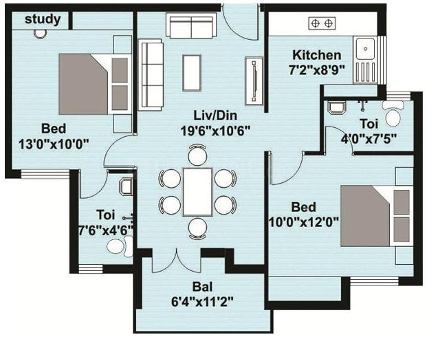 Shirdi Whitefield Maximum Floor Plan: 2 BHK Unit with Built up area of 1013 sq.ft 1