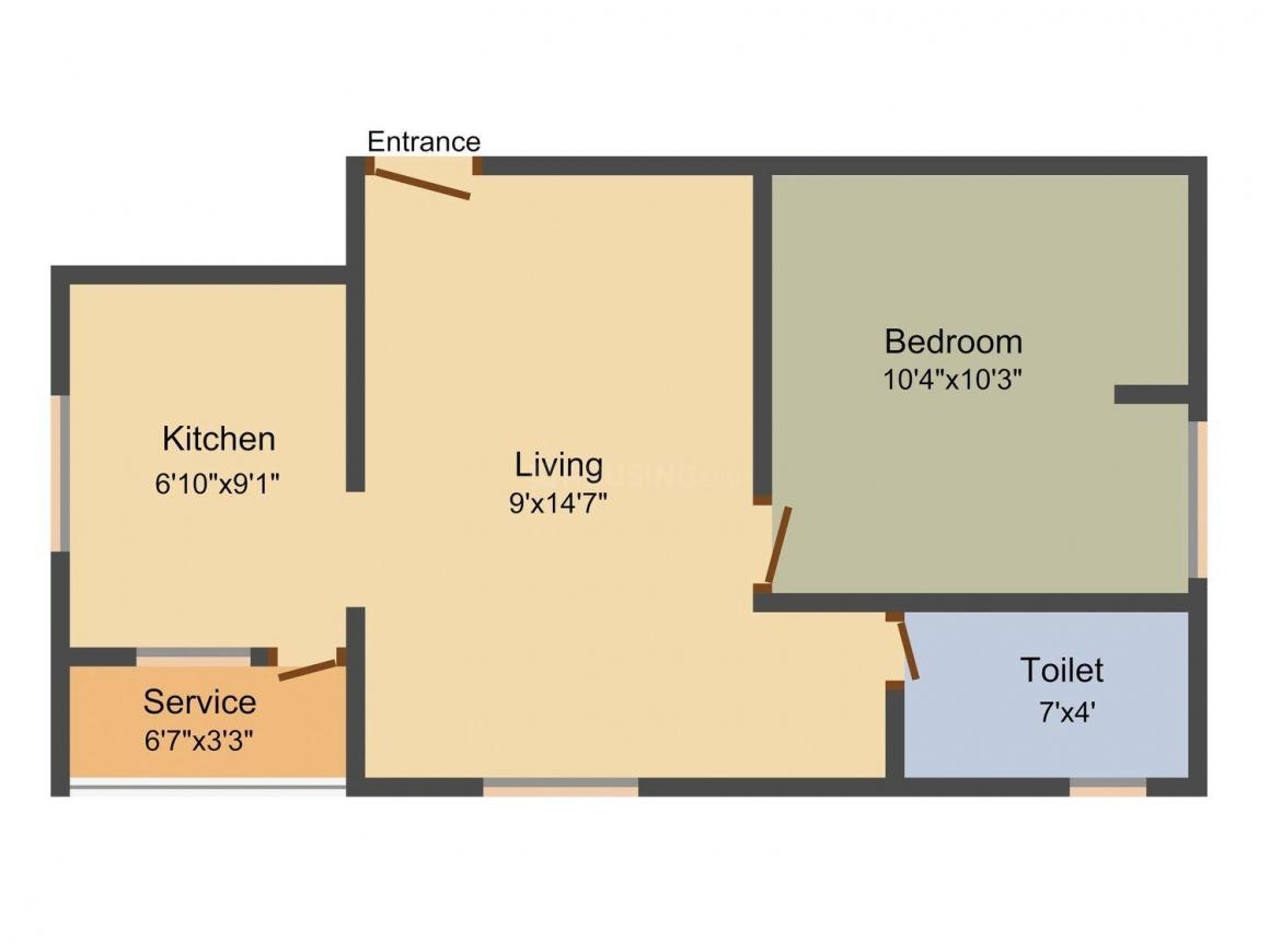 Floor Plan Image of 522.0 - 822.0 Sq.ft 1 BHK Apartment for buy in Ksr Elite