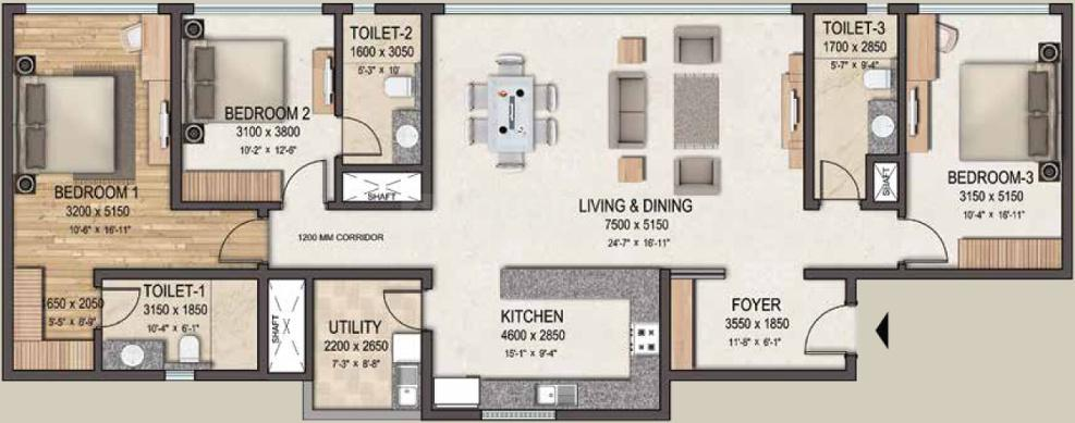 Sobha Clovelly Floor Plan: 3 BHK Unit with Built up area of 2235 sq.ft 1
