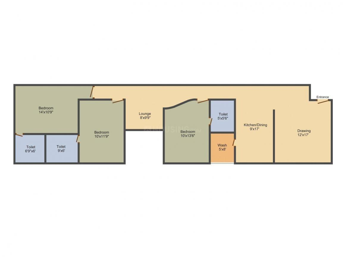 Sureel 3 Floor Plan: 3 BHK Unit with Built up area of 1845 sq.ft 1
