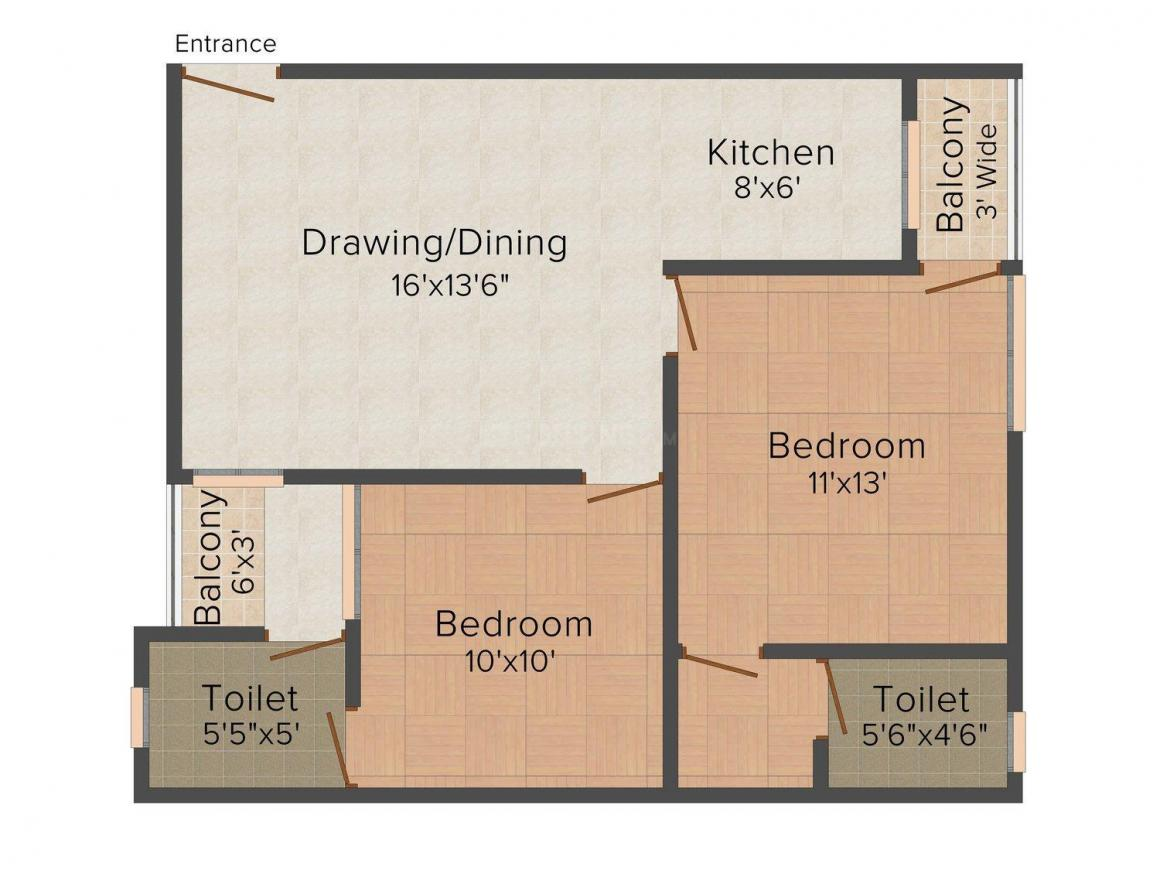 SRH Ashoka Residency Floor Plan: 2 BHK Unit with Built up area of 965 sq.ft 1