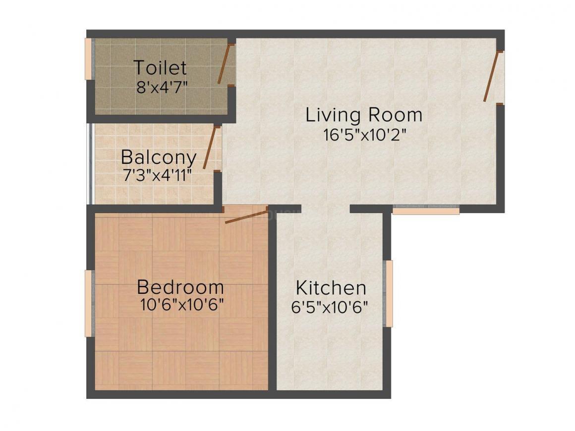 Floor Plan Image of 600 - 1200 Sq.ft 1 BHK Apartment for buy in Gateway Ocean Glory