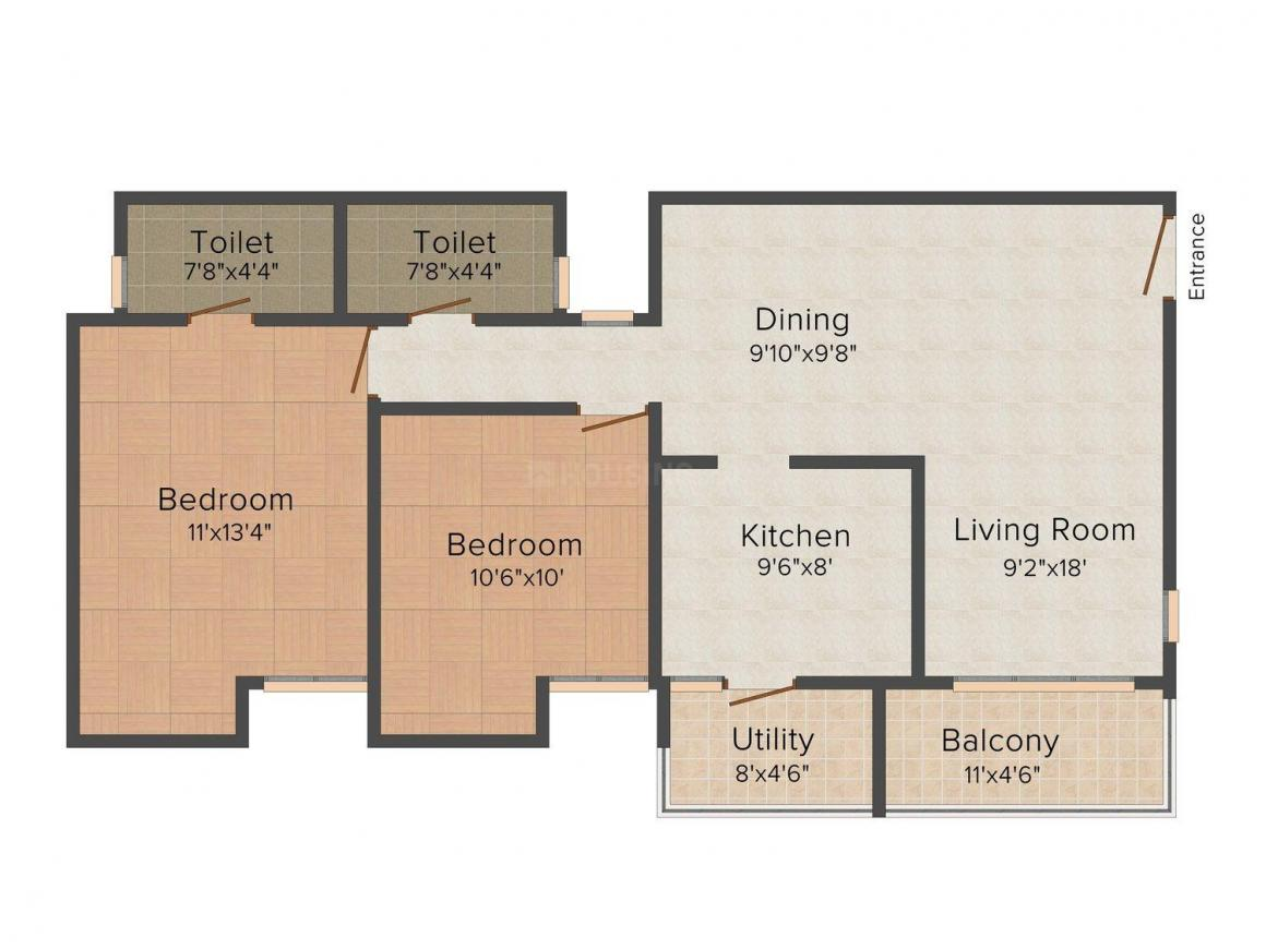 Floor Plan Image of 1050 - 1425 Sq.ft 2 BHK Apartment for buy in Trisquare Grand