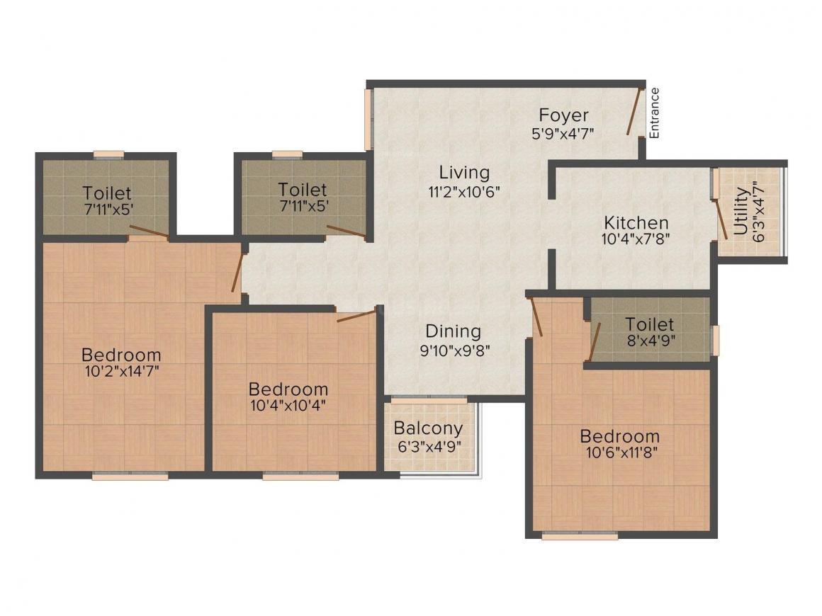Mantri Manyata Energia Floor Plan: 3 BHK Unit with Built up area of 1355 sq.ft 1