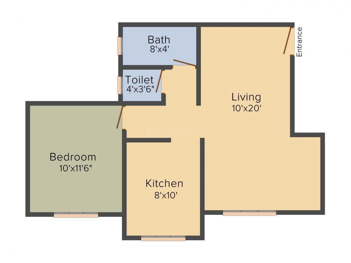 Floor Plan Image of 690 - 850 Sq.ft 1 BHK Apartment for buy in Shiv Jyoti Vardan Heights