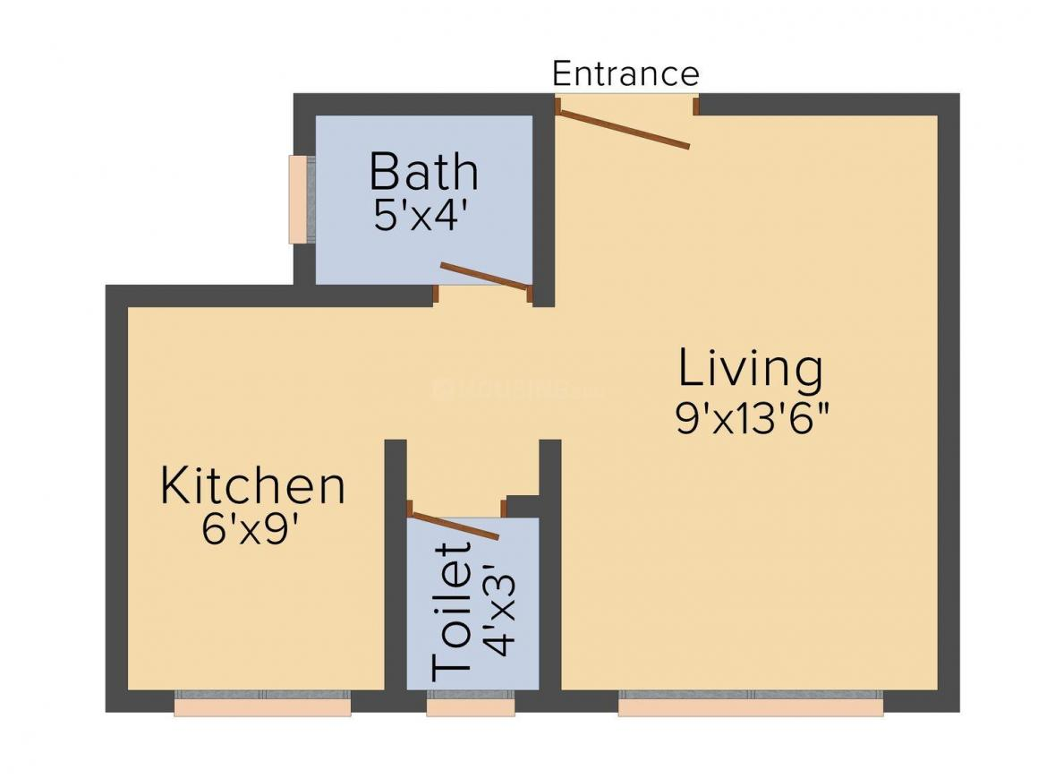 Floor Plan Image of 400.0 - 580.0 Sq.ft 1 RK Apartment for buy in Ayi Ekveera Shree Samarth Krupa