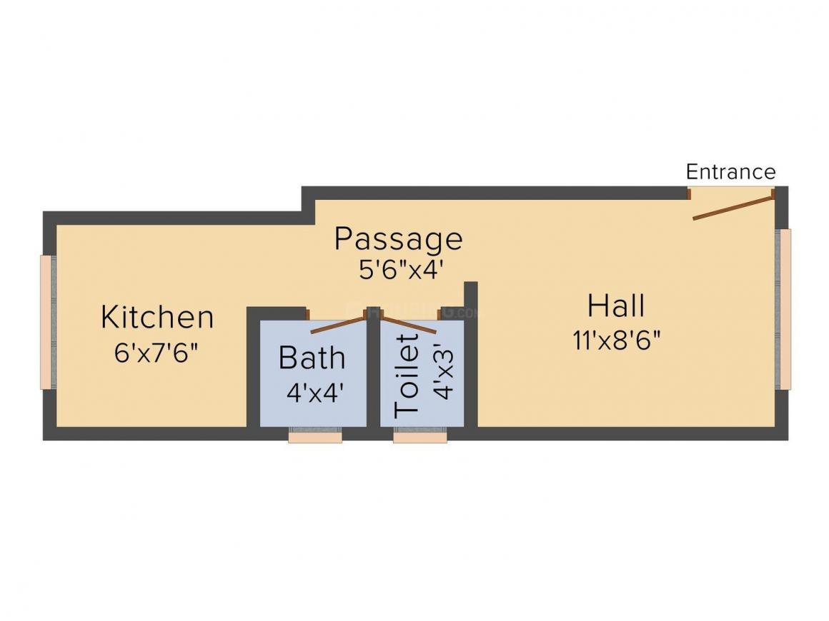 Sai Ram Om Apt Floor Plan: 1 BHK Unit with Built up area of 330 sq.ft 1