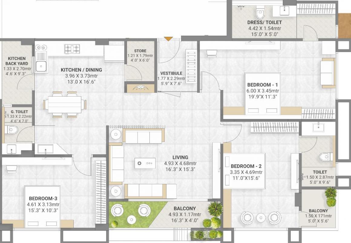 Guru Elan Pride Floor Plan: 3 BHK Unit with Built up area of 1261 sq.ft 1