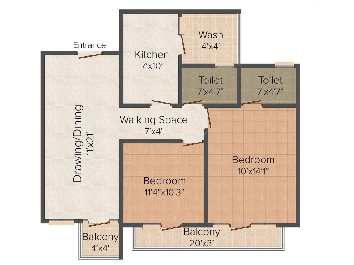 Dhanshree Residency Floor Plan: 2 BHK Unit with Built up area of 1500 sq.ft 1