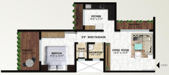 Pannash Floor Plan: 1 BHK Unit with Built up area of 359 sq.ft 1
