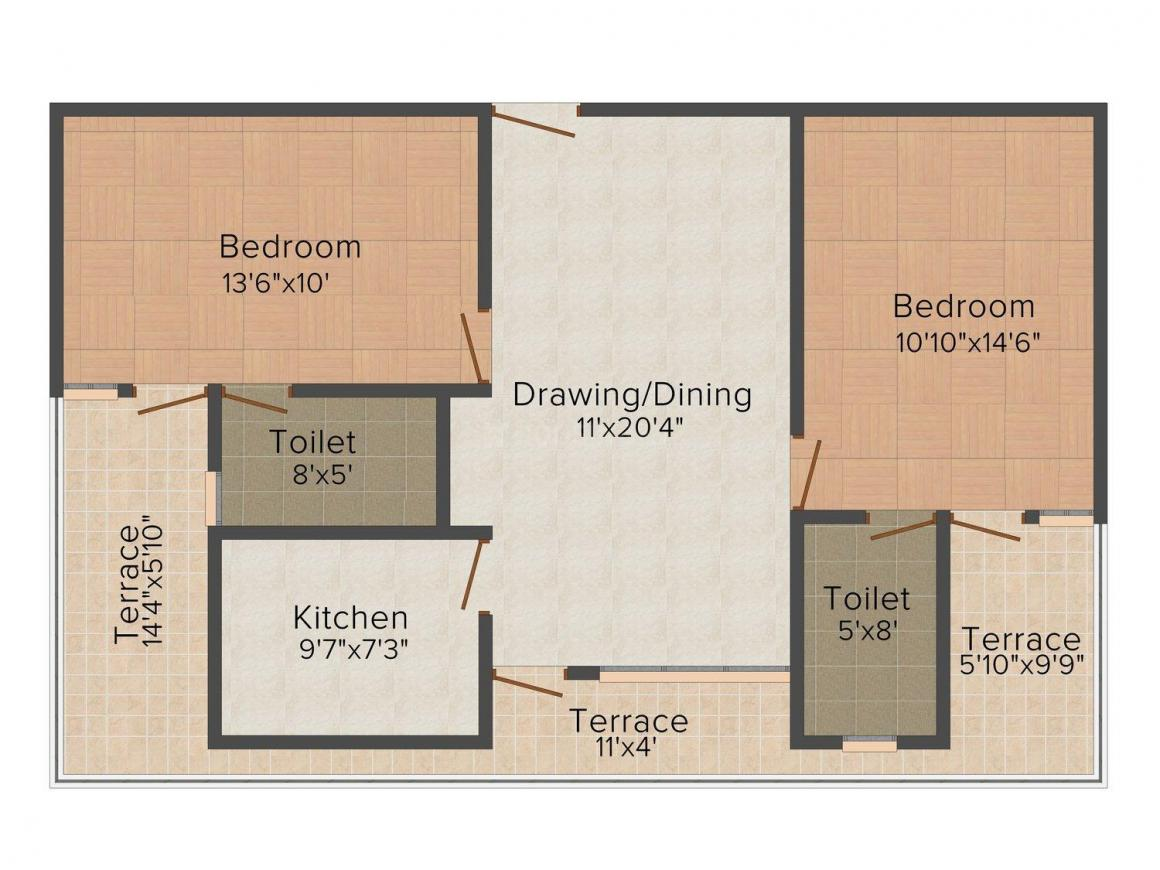 Floor Plan Image of 1165.0 - 1780.0 Sq.ft 2 BHK Apartment for buy in SDC Green Park