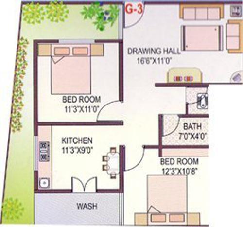 Floor Plan Image of 868.0 - 1527.0 Sq.ft 2 BHK Apartment for buy in Techops Techops Laxmi