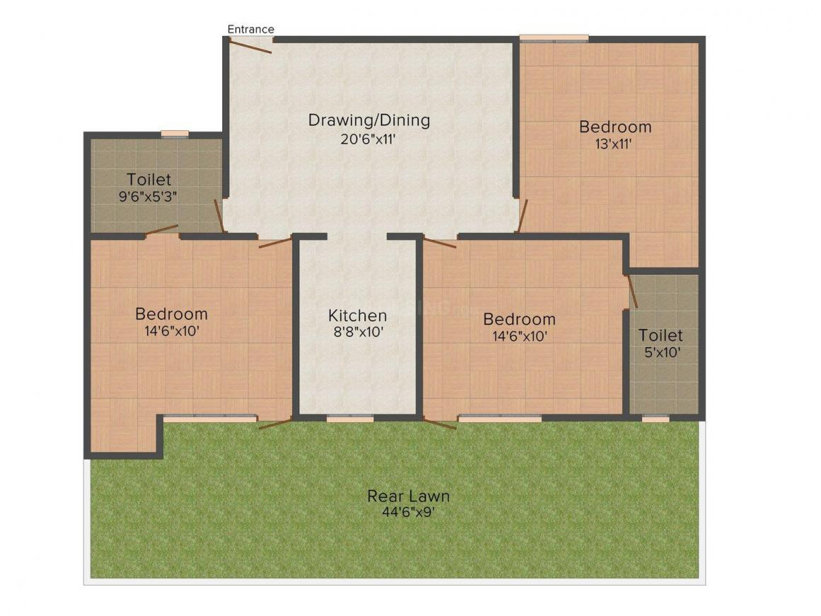XS Homes - 13 Floor Plan: 3 BHK Unit with Built up area of 1350 sq.ft 1